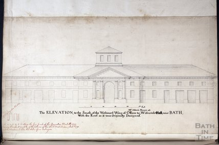 The Elevation to the South of the Westward wing of Offices to Mr Allen's House, c.1737