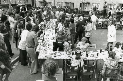 A Silver Jubilee Street Party, possibly in Twerton, Bath, June 1977