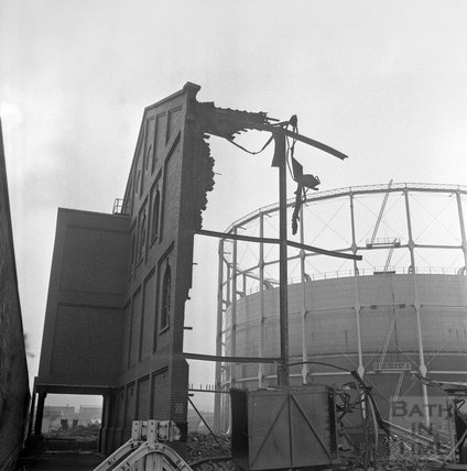 The demolition of Bath's gasworks, Lower Weston, 1 March 1972