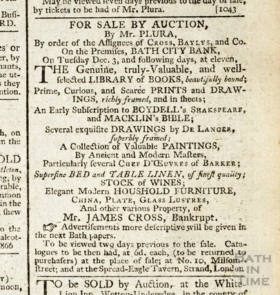 Auction of library of books of bankrupt Mt James Cross, 7 Nov 1793