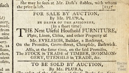 Auction of household furniture of bankrupt builder, John Eveleigh, 12 Dec 1793