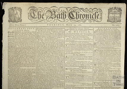 Bath Chronicle front page, Thursday March 15, 1781
