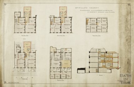 Mr Willat's Charity, Proposed conversion of no.25 & 26 St James Square into flats - plans, 1 section - Frederick Gardiner & Son 1914