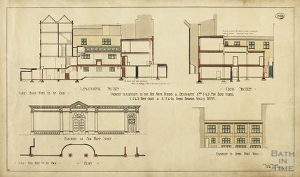 Proposed alterations to the Red House Bakery & Restaurant, 8 & 9 New Bond Street, 1, 2, & 3 Bond Court, & 8, 9 & 9a Upper Borough Walls - longitudinal section, cross section, elevations, plan - AJ Taylor 1913