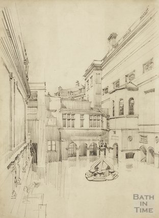 Pencil sketch of King's Bath with 'kitchen', looking westwards, c.1920s?
