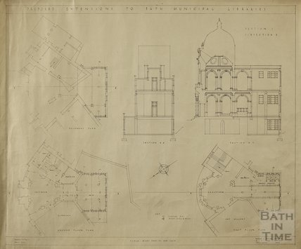 Proposed extension to Bath Municipal Libraries - Section 1, subsection 4 - plans & sections - AJ Taylor & AC Fare c.1930s