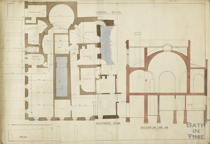 Turkish Baths - basement plan and section - Charles E Davis November 1877