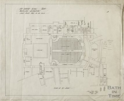 Theatre Royal - proposed alterations - plan at pit level - AJ Taylor April 1914