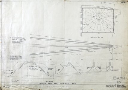 Kingston Bath - details of pre-cast main roof beams - plans & sections - 1454/4 - Gerrard Taylor & Partners July 1955
