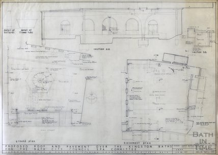 Kingston Bath - proposed roof and pavement over - section & plan - 1937/2 - Gerrard Taylor & Partners February 1956