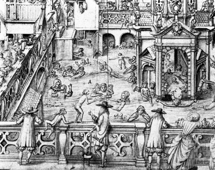 A pen and wash drawing of the King's Bath, Bath 1675 - detail