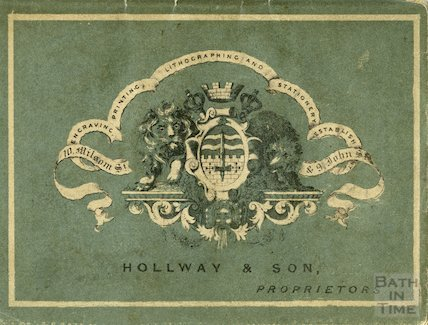 Advertisement and insignia for Hollway & Son, engravers and printers, Bath, 1854