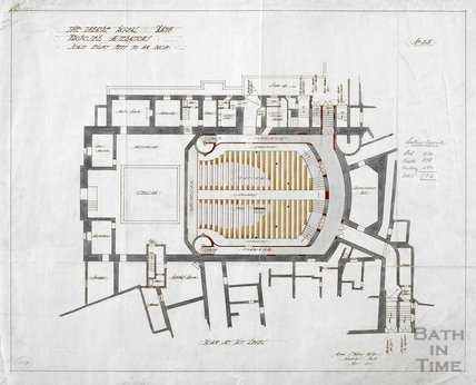 Theatre Royal proposed alterations - plan at pit level - no.25 - AJ Taylor April 1914