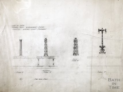 Terrace Walk improvement scheme - suggested electric light standards, 3 schemes c.1920s?