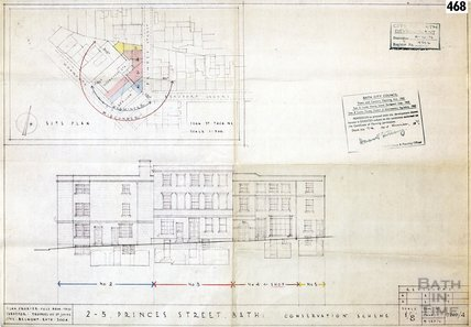 2-5 Princes Street conservation scheme - site plan & elevation - 7207/4 - Alan Crozier-Cole Sept 1972