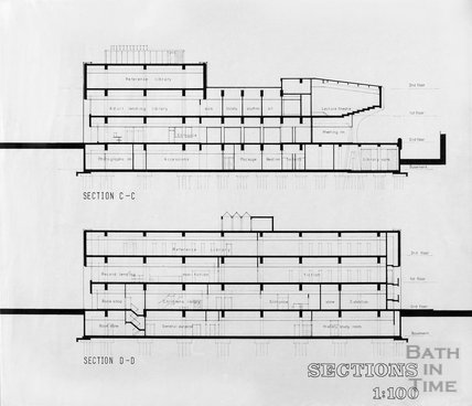 Proposed Library building for Podium site, Northgate Street - sections C-C D-D, ?mid 1980s