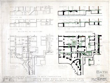Grand Pump Room Hotel site - shops and flats for Ravenseft Properties Ltd. -, Arlington House - sections and plan of building as existing and proposed modifications - Kenneth Wakeford Jerram & Harris - 2162/18 June 1959