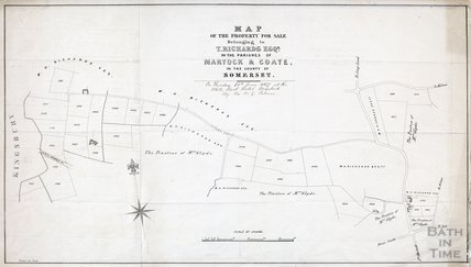 Map of the property for sale belonging to T. Richards Esq. in the parishes of Martock and Coate 1857