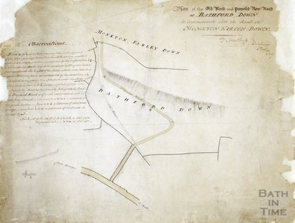 Plan of the old road and proposed new road at Bathford Down to communicated with the road on Monkton Farley Down c.1812?