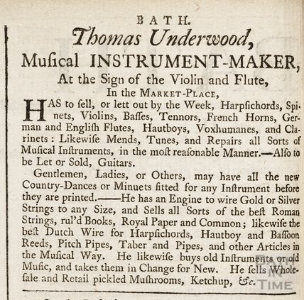 Thomas Underwood, Musical Instrument Maker, 5th March 1757