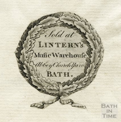 Lintern's Music Warehouse Trade Card, Abbey Church Yard, Bath, c.1807