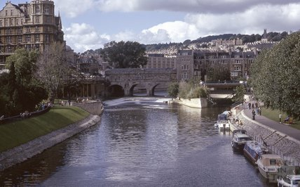 View of Pulteney Bridge from North Parade Bridge, 1974