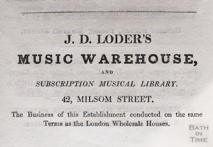 Trade Advertisement for J.D. Loder's Music Warehouse, 1833