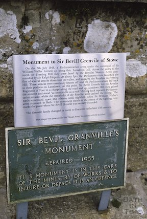 Granville Monument, Lansdown, plaque, Jan 1986