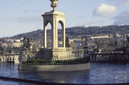 The mineral water fountain, recently moved from Stall Street to Terrace Walk, 1990