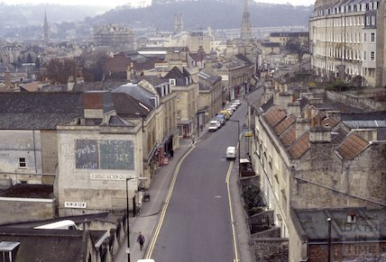 Walcot Street from the roof of St Swithin's Church, Walcot, 1992