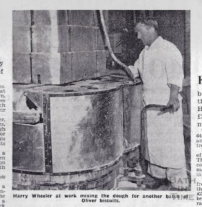 Harry Wheeler at work making Bath Oliver Biscuits, Feb 1963