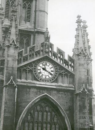 Bath Abbey from High Street showing clock, 1950