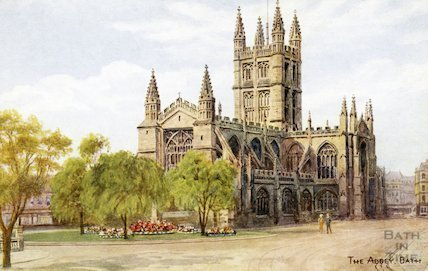 Postcard of Bath Abbey from Orange Grove