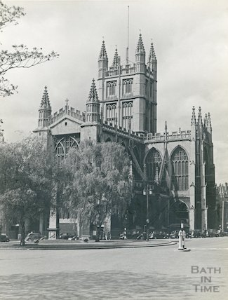 Bath Abbey Church North East view with Orange Grove, 1935