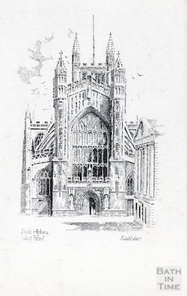 Postcard of Bath Abbey west front