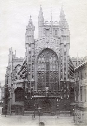 Bath Abbey west front across Abbey Church Yard before Concert Hall was built c.1890