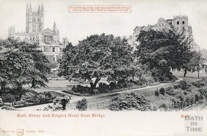 Bath Abbey and Empire Hotel from North Parade bridge, 1906