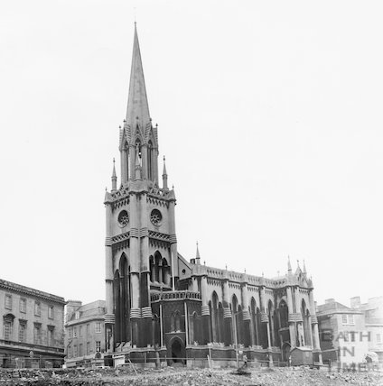 St. Michael's Church revealed from clearance of buildings on Northgate Street opposite, 10 February 1971