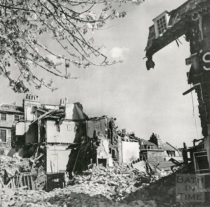 The devastation to the Francis Hotel, Queen Square after the Bath Blitz, April 1942