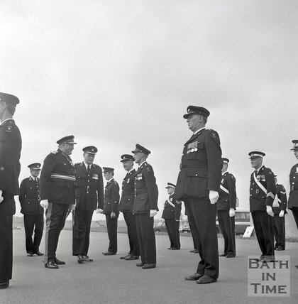 Lord Margadale, Lord Lieutenant of Wiltshire, inspecting the St John Ambulance parade at Keevil airfield, June 1973