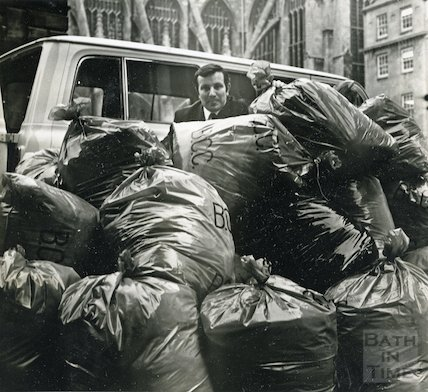 Sacks of contributions for the Blue Peter Appeal, Kingston Parade, Bath, 17 Jan 1972