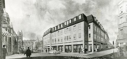 Artist's impression of the redesigned Harvey Block, High Street, Bath, October 1964