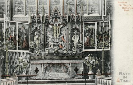 Reredos and interior of St Mary's Church, Bathwick, Bath, c.1905
