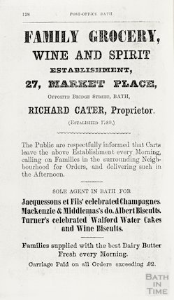 Advertisement in Bath Directory for Richard Cater, family grocer 1862