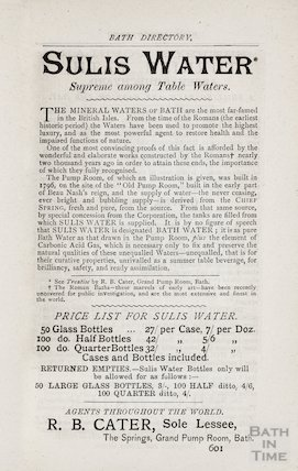 Advertisement in Bath Directory for Sulis Water, Bath 1884