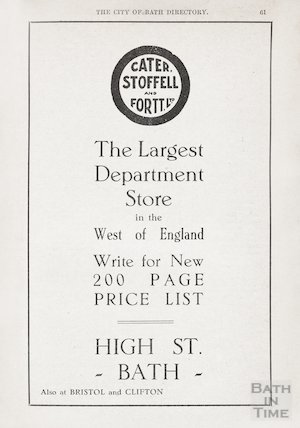 Advertisement in Bath Directory for Cater, Stoffell & Fortt, High Street, Bath 1929