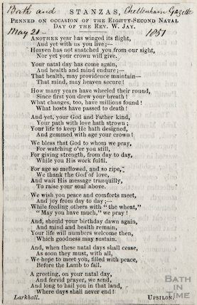 Stanza's printed on occasion of 82nbd natal day of The Revd. W. Jay, May 21st 1857