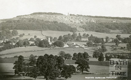 Distant view of Bathford Church and Monument c.1912