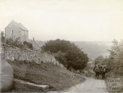St. Mary Magdalene Church, Langridge with horse and cart in the foreground c.1900