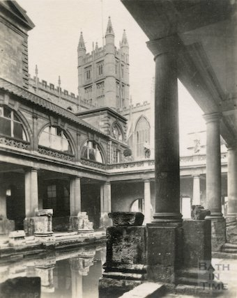 View of Bath Abbey from the Roman Baths, c.1920s